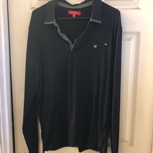 Men's Black Guess Collared Long-sleeve